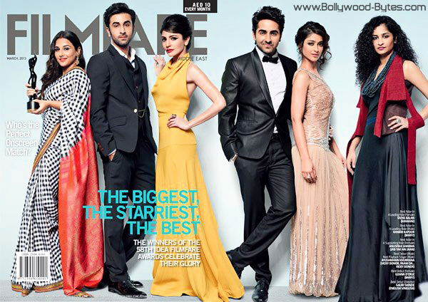 Anushka, Vidya, Ranbir, Ayushmann, Ileana and Gauri Shinde on Cover Filmfare Middle East March 2013