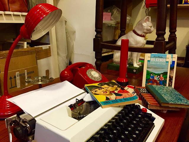 secretária, vintage, escritório