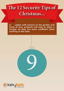 Tip 9 of Keytek emergency Locksmiths The 12 Security Tips of Christmas security lights advice