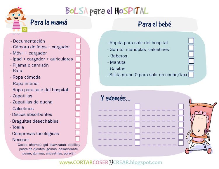 Imprimible bolsa qué llevar hospital parto