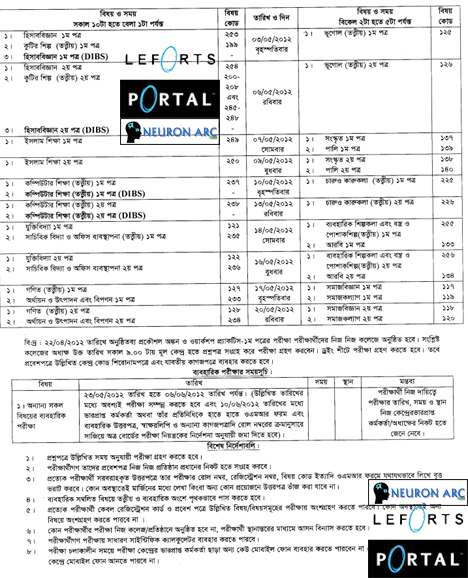 0v2bm Revised routine of HSC examination Bangladesh 2012
