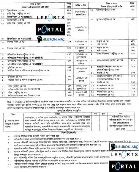 0v2bm Revised routine of HSC examination Bangladesh 2012