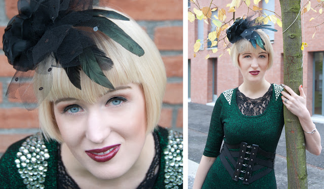 fascinator, hat, black rose, feathers