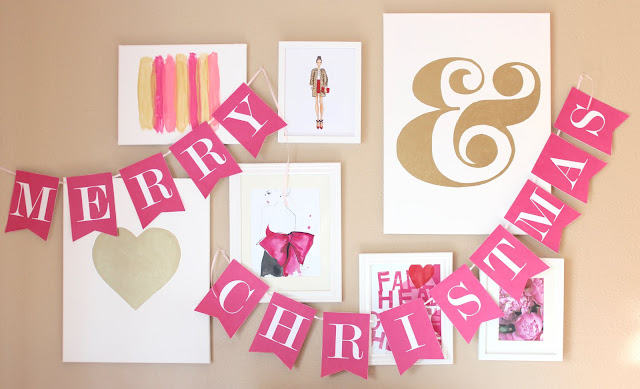 Free Printable Christmas Banner from Jessica Marie Design. Available in 6 different colors!