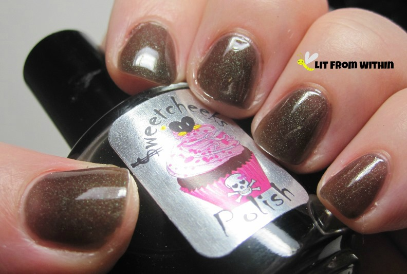 Sweetcheeks Polish Eric, a brown jelly with green shimmer.