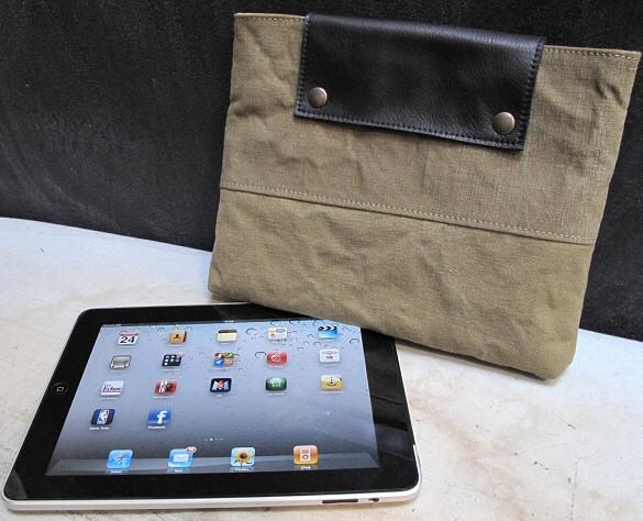 Pochette iPad en toile et cuir