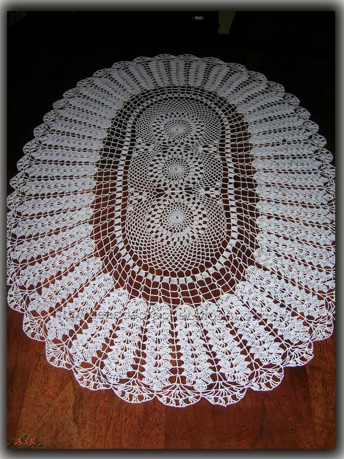 Ideas de crochet centro ovalado - Centro de mesa a crochet ovalado ...
