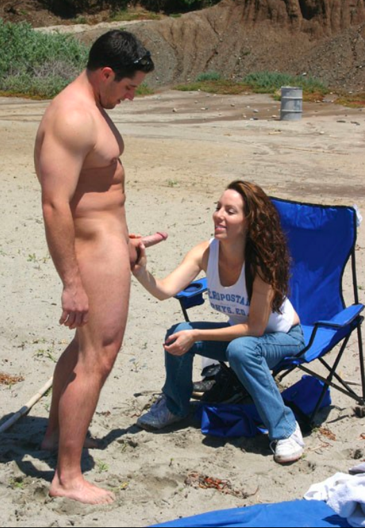 nude erection Cfnm beach
