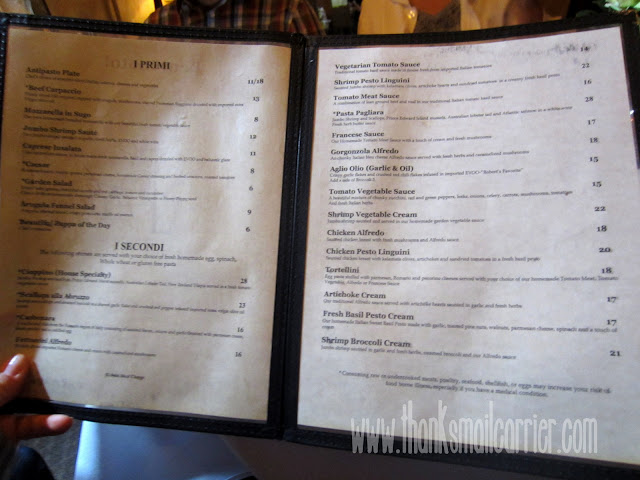 The Pasta Tree menu