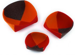 three felt bowls