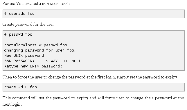 how to change the password for unix user