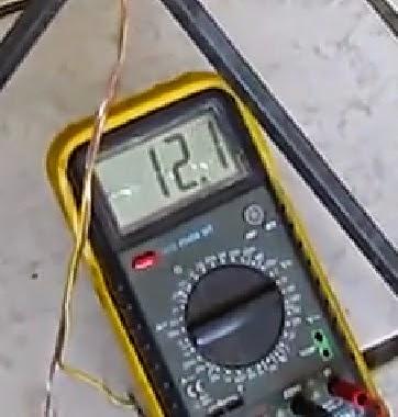 medindo corrente no dínamo caseiro