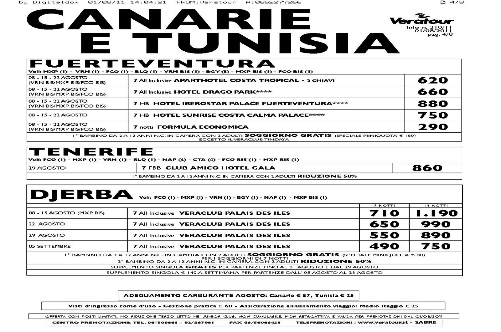 Pommer viaggi offerta veratour agosto settembre per - Canarie offerte immobiliari ...