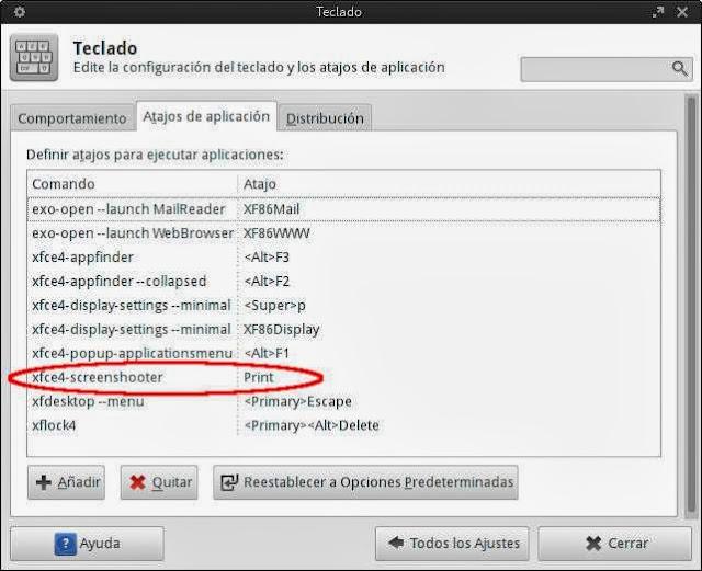 configurar tecla impr pant linux