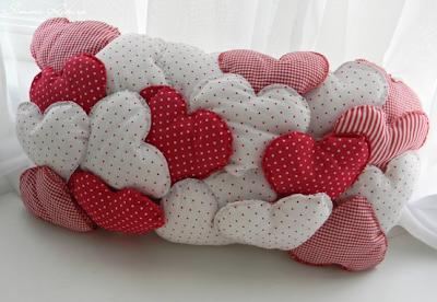 dia dos namorados - almofada em patchwork - corações