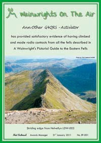 Certificate for completion of contacts with or from all summits in one of Wainwright's guides
