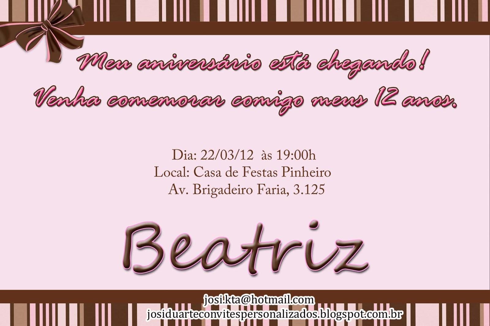 Convite Marrom E Rosa   12 Anos Beatriz