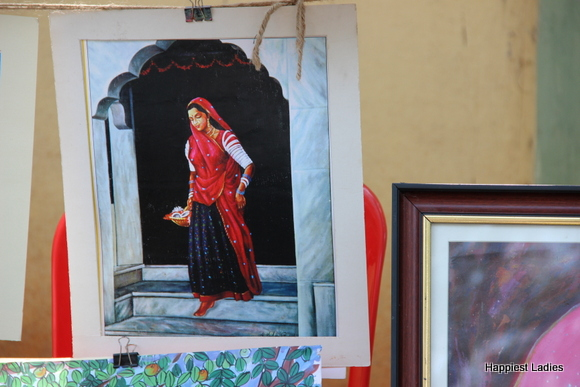 rajasthani woman oil painting