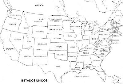 COLOREA TUS DIBUJOS Mapa de Estados Unidos de Amrica con nombres