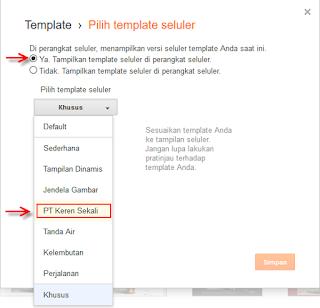 Cara mengaktifkan template blog versi seluler