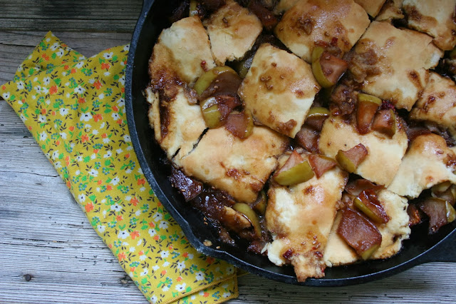 Apple-Raspberry Pandowdy in Skillet