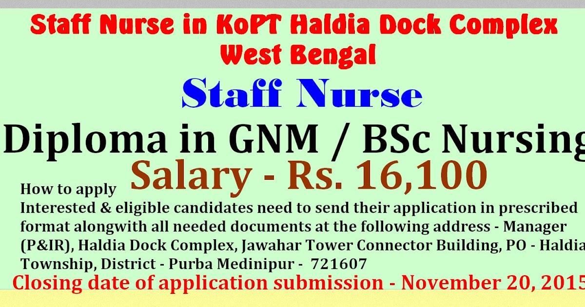 nurses job vacancy  staff nurse in kopt haldia dock