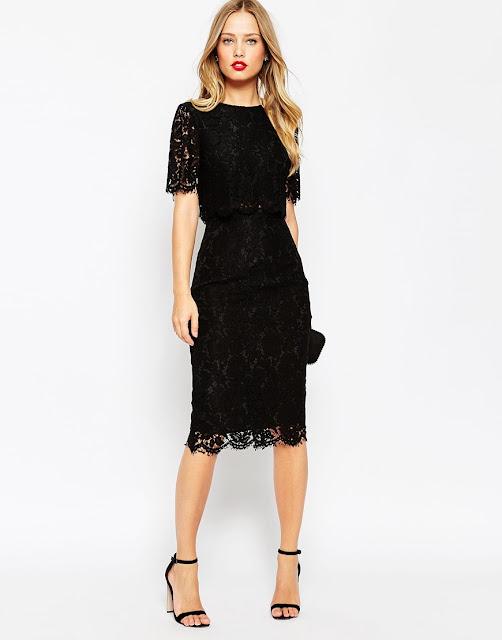 black lace midi dress, crop layer black lace dress,