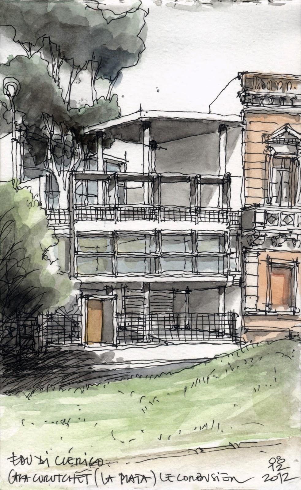 Miradas croquis urbano casa curutchet la plata for Casa de diseno la plata
