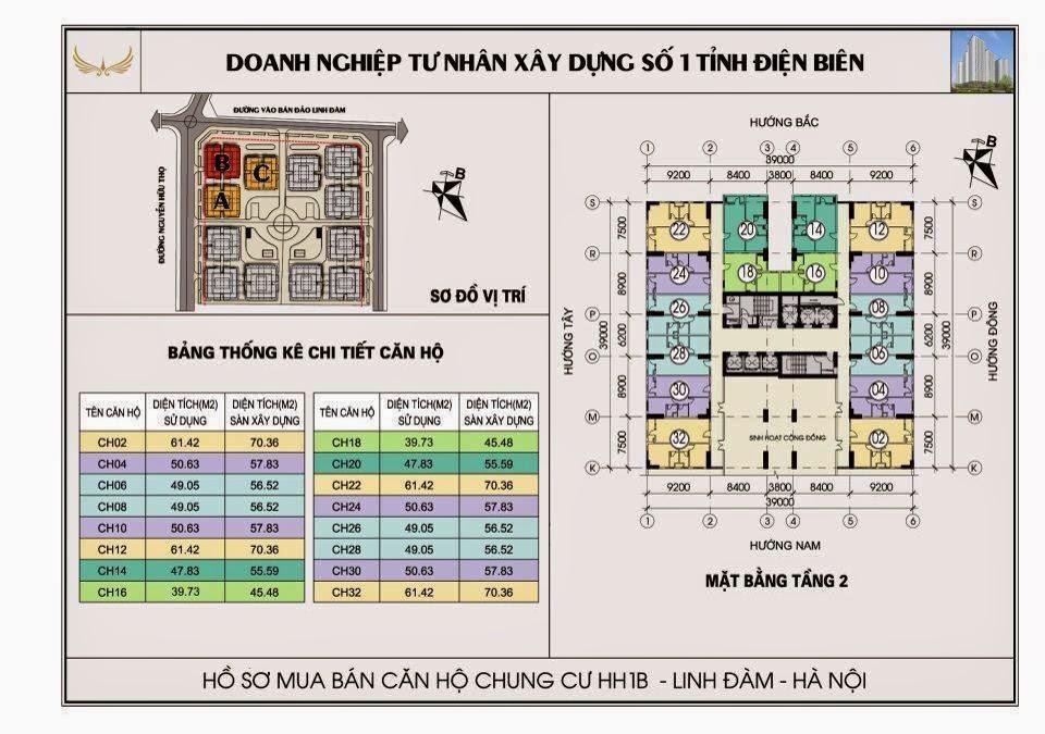 sơ đồ tầng 2 chung cư hh1b linh đàm