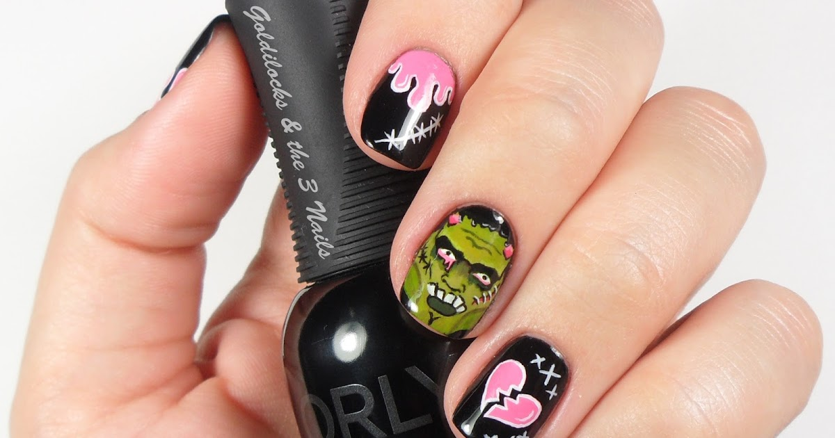 Goldilocks The Three Nails Pop Art Frankenstein Nail Art