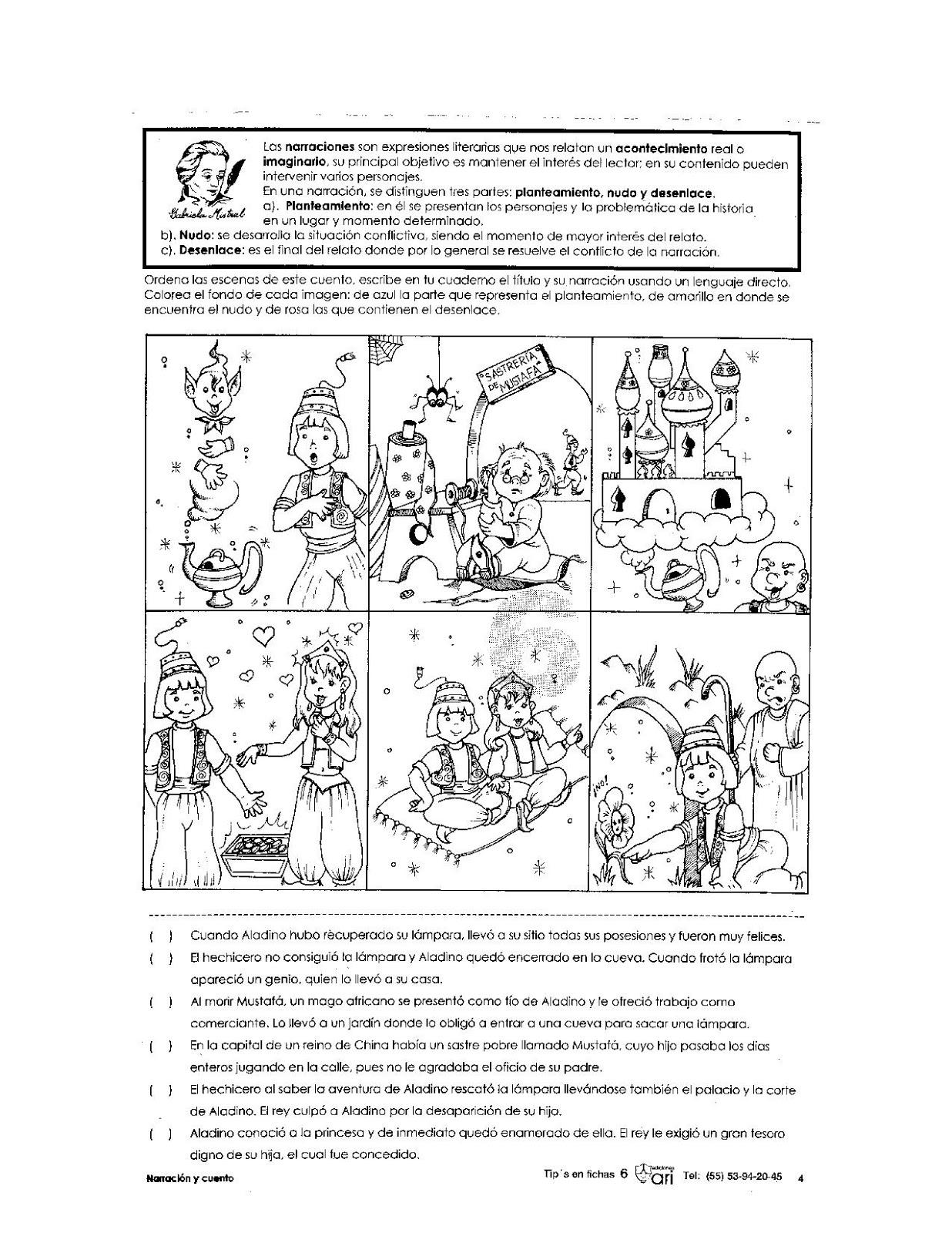 Ejercicio de las narraciones para primaria