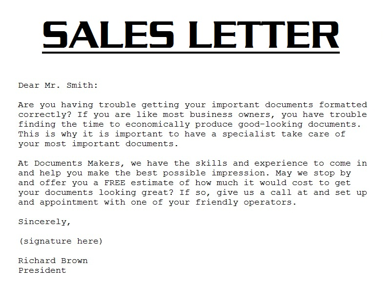 sale representative cover letter