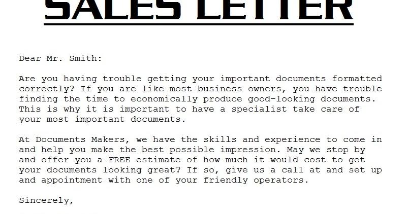 sample sales letter 3000: sales letter template