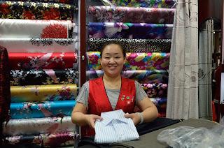 Linda at Tony's Tailor Shop in Silk Market in Beijing.