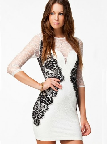 Double-Deck Lace Half Sleeve Hip Package Dress