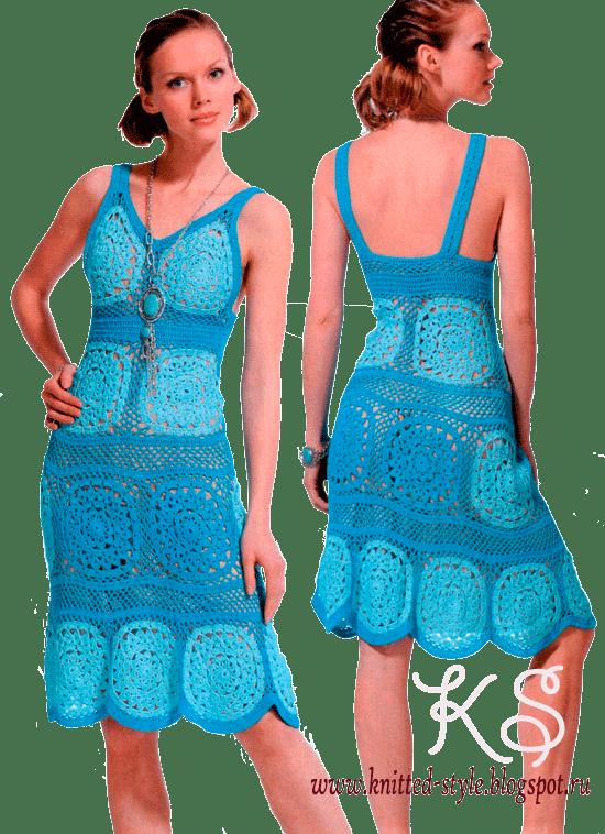 Голубой сарафан из мотивов