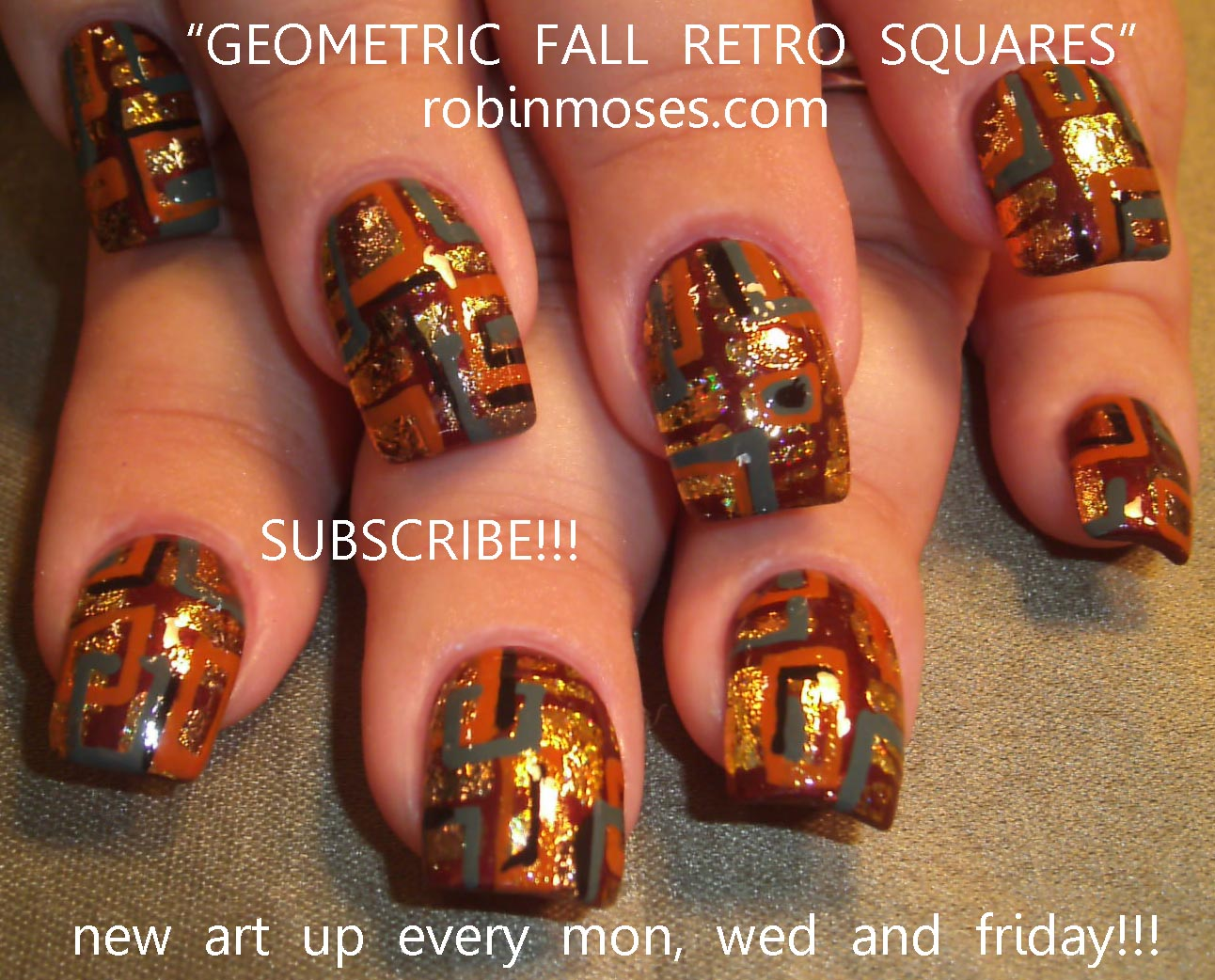 fall nail, autumn nail, retro fall nail, geometic nail, fall floral ...