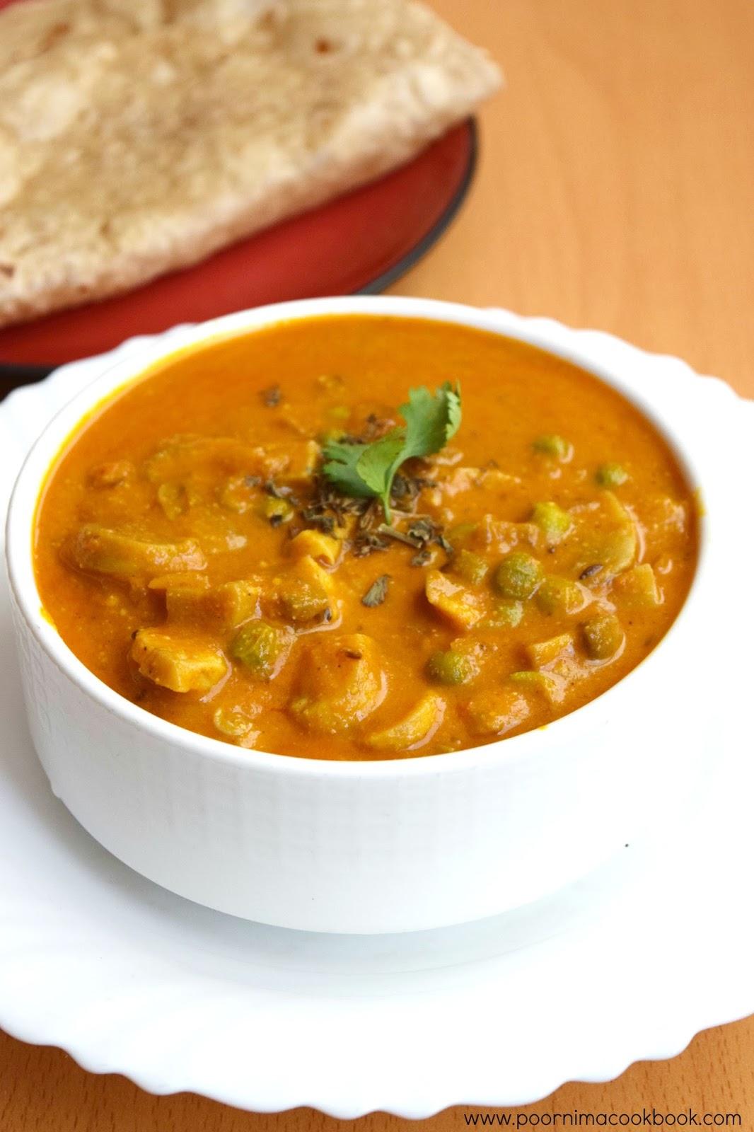 Poornimas Cook BookMushroom peas Masala / Mushroom Peas Curry