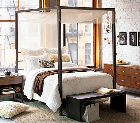 Black Wood Canopy King Bed