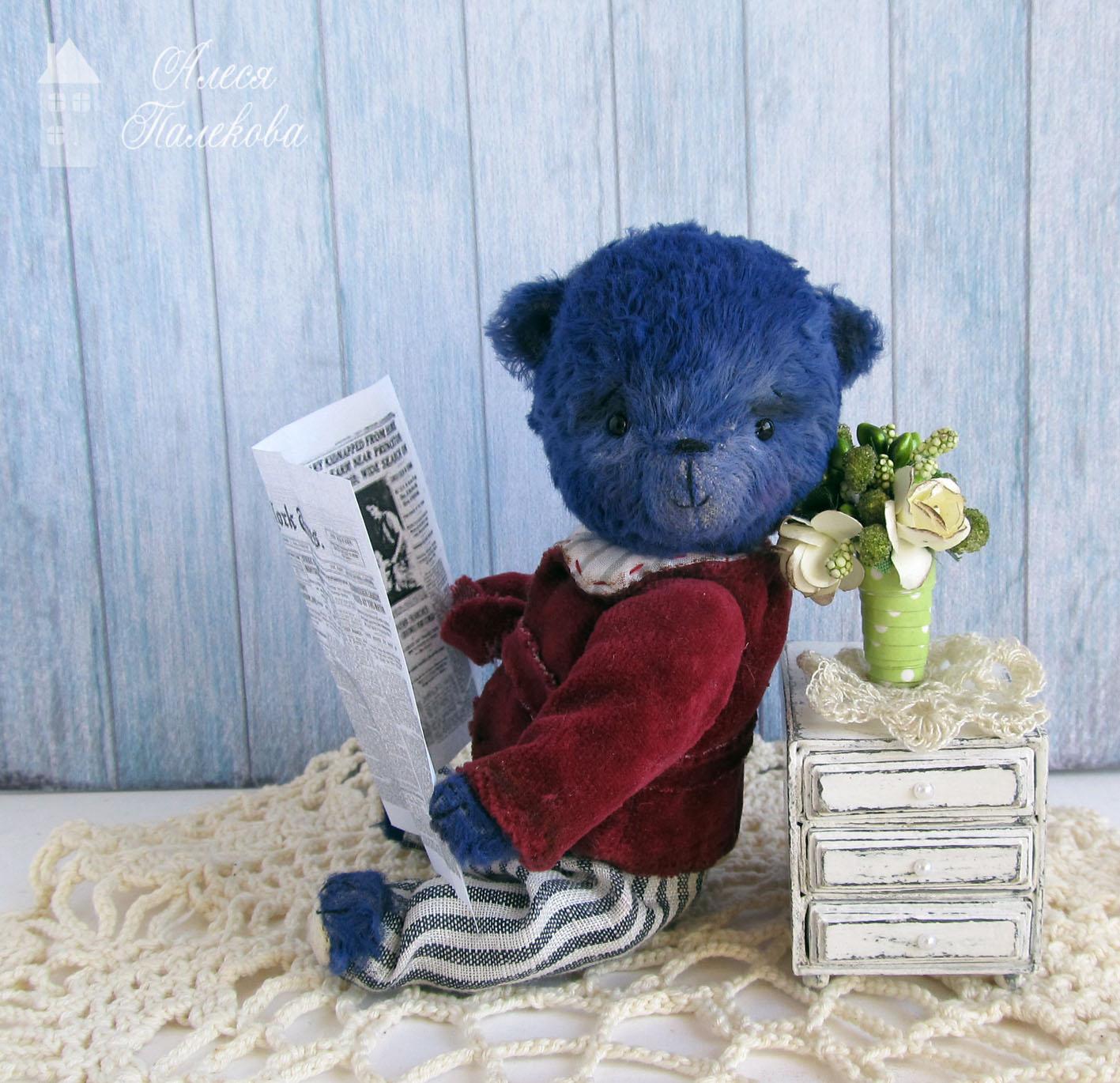 мишка, синий, мишутка, тедди мишка, мишка с газетой, винтажный мишка