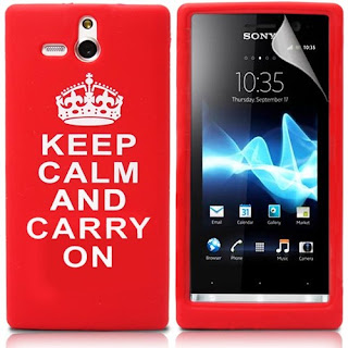 SONY ERICSSON XPERIA U ST25I RED KEEP CALM AND CARRY ON CASE COVER + FILM