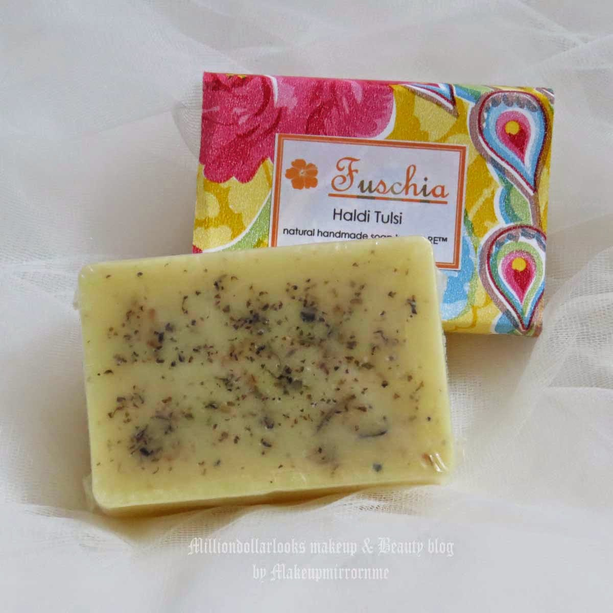 Fuschia Haldi Tulsi Natural Handmade Soap Review & Pictures, Indian beauty blogger, Fuschia handmade soaps, Fuschia handmade soaps review and price, Indian beauty blog, Bath products from Fuschia, Top beauty blogs in India, Indian makeup and beauty blog, MillionDollarLooks makeup and beauty blog, Herbal handmade soaps India, Handmade soap India, Haldi tulsi benefits, Haldi tulsi soaps, Best soaps for allergic skin, sensitive skin,