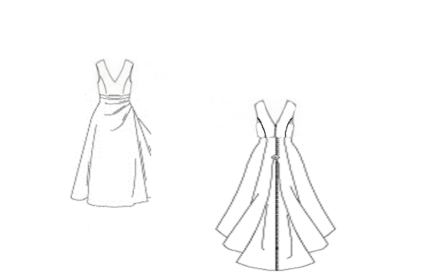 Wedding Dress Line Drawing : Here is a line drawing of all drawings combined