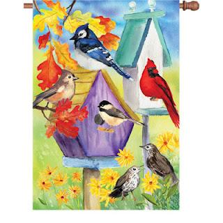autumn bird house garden flag