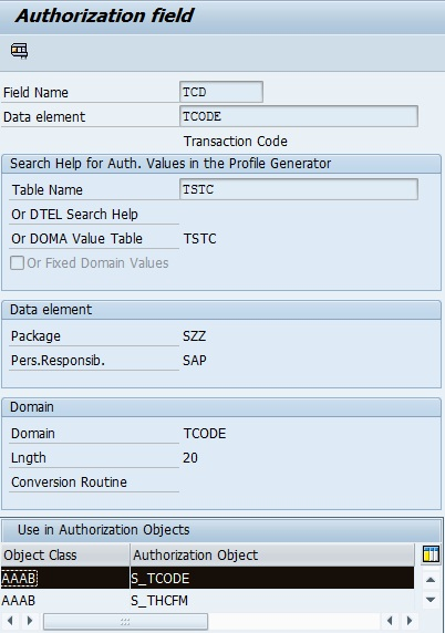t code authorization objects required sap