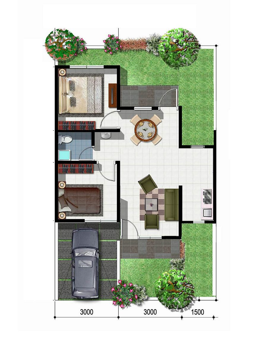rancangan denah rumah type 45 idaman