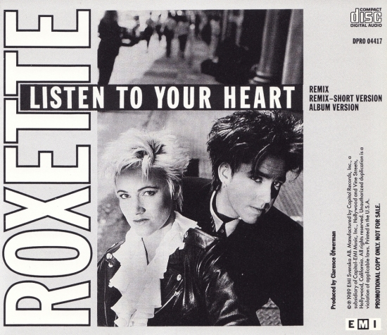 Roxette – Listen To Your Heart (US Promo CD Maxi Single)