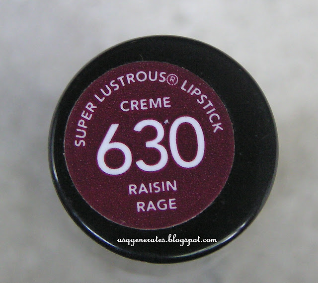 Revlon Super-Lustrous Lipstick Review In Raisin rage backside label