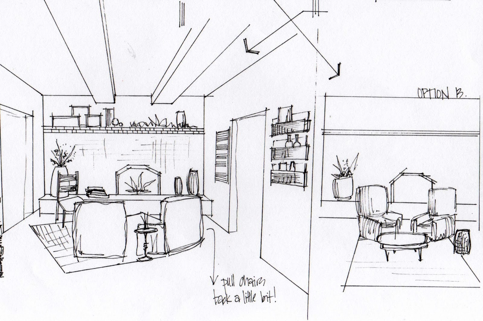 how to draw a living room step by step