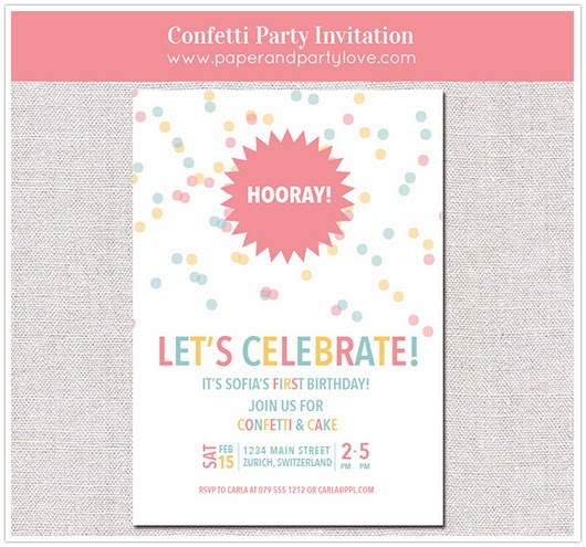 confetti printable invitation sprinkles